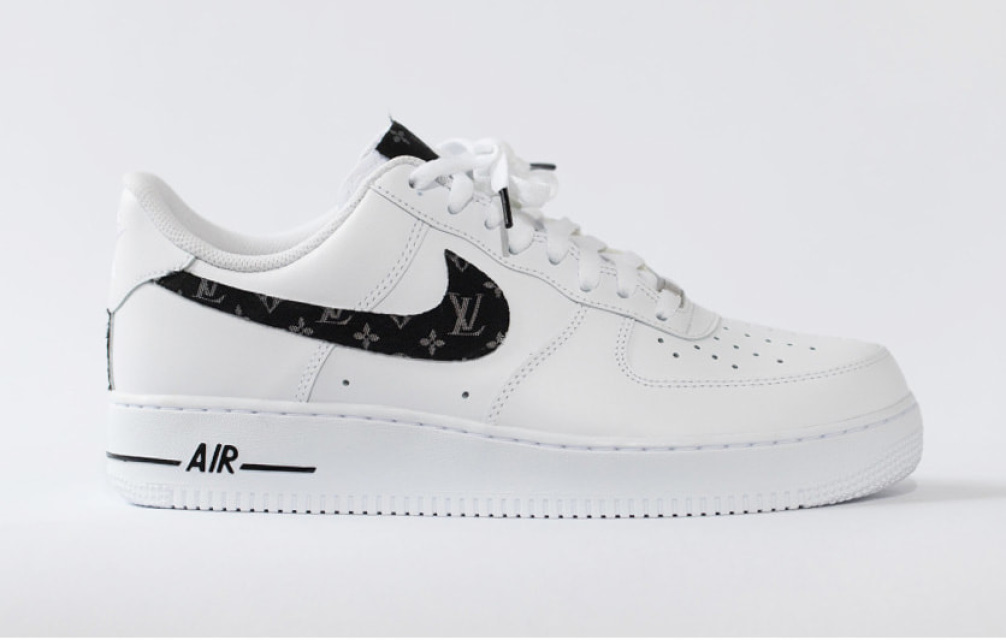 325361f5f89e Nike Air Force 1 all white low custom  LV Scarf  edition W  custom insoles