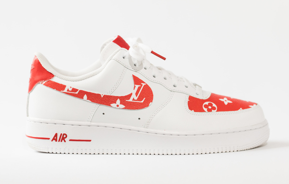 uk availability 93913 959fb Nike Air Force 1 all white low  Lous Vutton x SUPREME Red Leather  edition