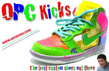 Custom designed dunks by OPC Kicks old logo.