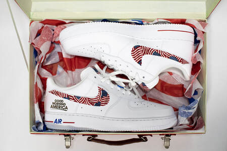 Customized Nikes Air Force 1s  made America Nike Air Force Ones made for Michael Strahan by OPC Kicks.