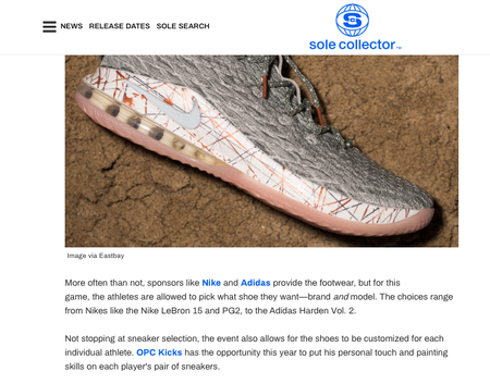 Sole collector article on OPC Kicks about Eastbay x Ball is Life sneakers.