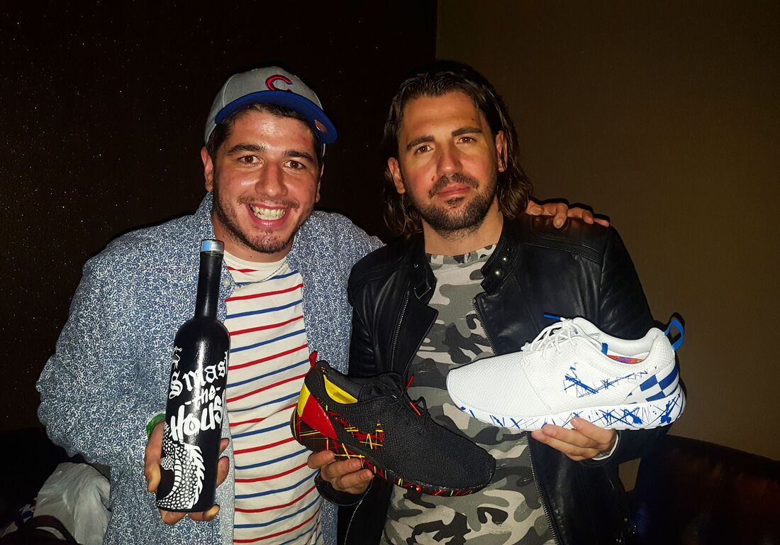 Custom painted nikes and liquor bottle for Dimitri Vegas n Like Mike made by OPC KICKS.