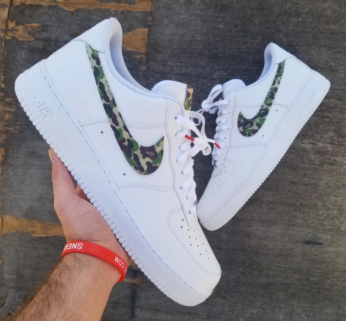 separation shoes 7a8f3 91e57 Nike Air Force 1 all white low  Bape Swooshes  edition
