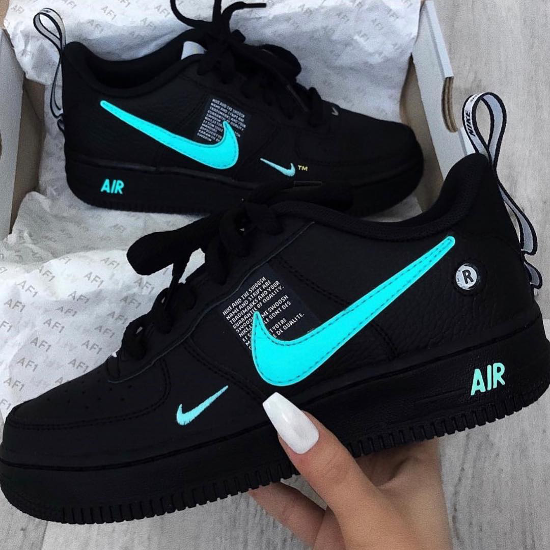 Nike Air Force 1 Lv8 Matte Black N Teal Custom